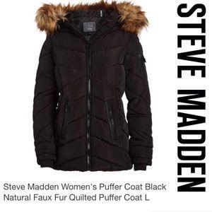 Steve Madden Puffer Coat Faux Fur Hood